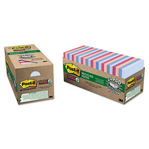 Post it Recycled Notes In Bali Colors 3 X 3 70 sheet 24 pack 65424nhcp
