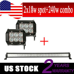42 240w Led Light Bar Combo Pair 4inch Cree Flood Work Light Off Road Truck