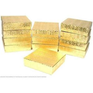 100 Gold Cotton Filled Jewelry Craft Gift Boxes 3 1 2