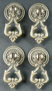 4 Teardrop Handles Pulls Ornate Victorian Antique Style 2 With 4 Bolts H8