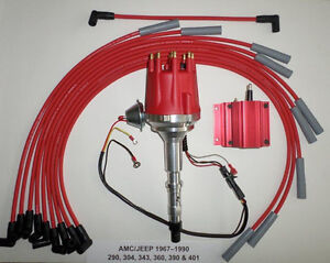 Small Cap Amc Jeep 290 304 343 360 390 401 Red Hei Distributor Coil Plug Wires