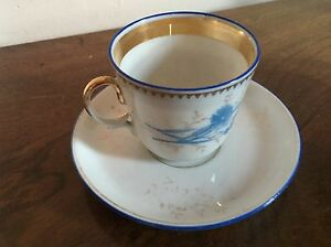 Porcelain Tea Turkish Coffee Cup And Saucer 19th Century Old Paris Porcelain