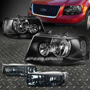 Black Headlight clear Corner smoked Oe Fog Light For 03 06 Ford Expedition U222