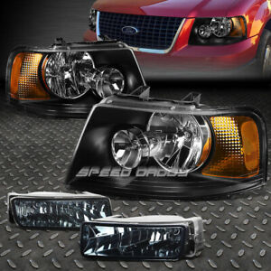 Black Clear Headlight amber Corner smoke Oe Fog Light For 03 06 Ford Expedition