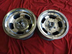 Vintage Pair Polished 14x7 Appliance Style Mags 5 On 4 3 4 Chevy Pontiac Buick