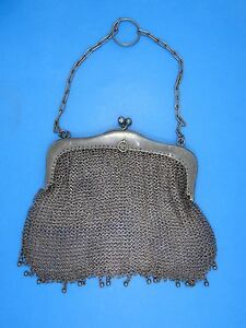 Antique French 19c Sterling Silver Chain Mail Mesh Purse 6 W 119g