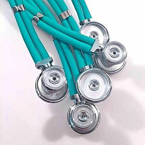 5 Pack Of Aqua Adult Sprague Rappaport Stethoscopes With Accessory Kit Aqua