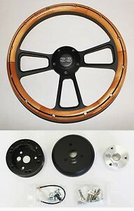 64 65 Chevelle El Camino Alder Wood On Black Steering Wheel 14 Ss Center Cap