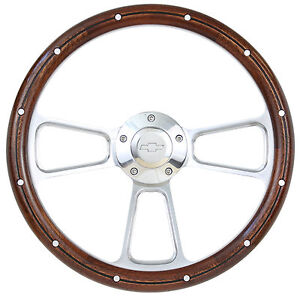 1955 To 1956 Chevy Bel Air Nomad W Ididit Column Real Wood Steering Wheel