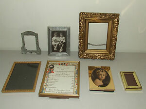 Vintage And Antique Picture Frame Frames Lot Brass Wood Etc