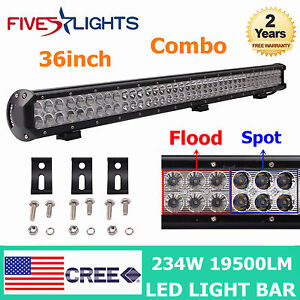36inch 234w Cree Led Light Bar Work Combo Offroad Driving Ute Boat Jeep 12v 24v