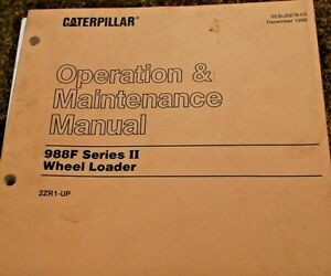 Cat Caterpillar 988f Wheel Loader Operator Operation Manual Front End Owner Book