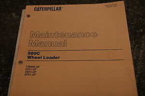 Cat Caterpillar 980c Wheel Loader Maintenance Manual Owner Front End Rubber Tire