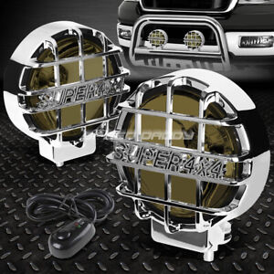 6 Round Chrome Housing Smoked Fog Light Offroad Super 4x4 Guard Work Lamp Switch