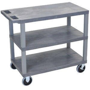 Luxor Ec222hd g 32 X 18 inch Gray Plastic Multi purpose 3 Flat Utility Cart