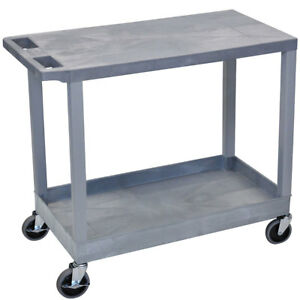 Luxor Ec21 g 32 X 18 inch Gray Plastic 1 Tub And 1 Flat Shelf Roll Utility Cart