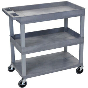 Luxor Ec112 g 32 X 18 inch Gray Plastic 2 Tub And 1 Flat Shelf Roll Utility Cart