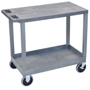 Luxor Ec21hd g 32 X 18 inch Gray Plastic 1 Tub And 1 Flat Shelf Utility Cart
