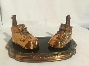Antique Art Deco Copper Baby Girl Boy Shoes Picture Frame Holder