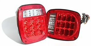 Jeep Tj Cj Yj Jk Replacement Stop Brake Turn Tail Lights W Led Trailer Boat