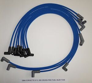 Chevy Corvette 1984 5 7l 350 Cross fire Fuel Injection Blue Spark Plug Wires Usa