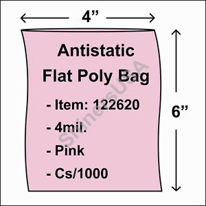 4 Mil Pink Antistatic Flat Poly Bag 4x6 Open Top Lay Flat Cs 1000 122620