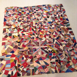Rare Stunning Intricate Antique Vintage Victorian Silk Crazy Quilt Top