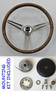 Grant Wood Steering Wheel Stainless Spokes 15 Fits Ididit Column Plymouth Cap