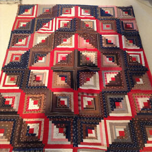 Antique Vintage Patchwork Quilt Log Cabin Barn Raising