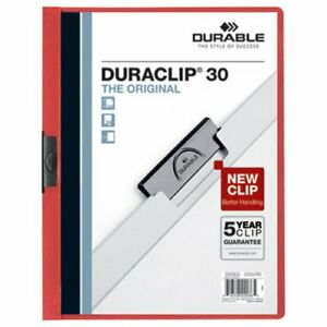 Durable Vinyl Duraclip Report Cover W clip Letter Clear red dbl220303