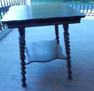 1920 S Square Oak Table Twisted Legs 26 Square 29 1 4 Tall