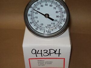 Thermometer 3 Face 4 Stem 0 250 F c 1 2 Npt Back Brewing Keg Kettle 943p4