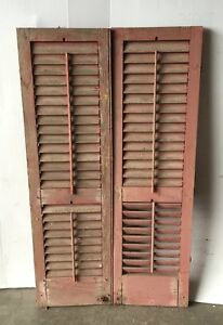 Pair Vtg House Window Wood Louvered Shutter Shabby Old Chic 15x51 1089 16