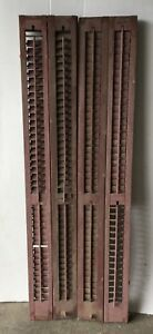 Pair Antique Bifold Tall Window Wood Louvered Shutter Shabby Old 12x71 1100 16