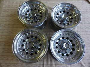 Set Of 4 Polished 15x8 6 Lug Centerline Style Style Mag Wheels Chevy Datsun 4x4