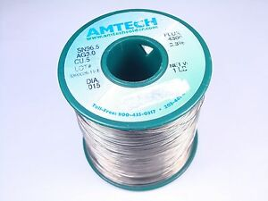 4300 Amtech Solder Wire Sn96 5 Ag3 0 Cu0 5 015 Lead Free 3 3 Flux Core 12oz