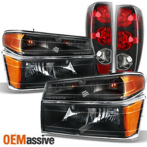 Fit 2004 2012 Chevy Colorado Gmc Canyon Pair Black Head Lights