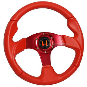 320mm Jdm Racing Sport Steering Wheel Red Pvc Leather Red Stitch Spoke 6 Hole