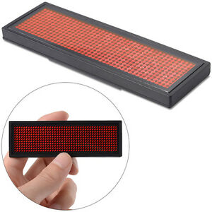 Scrolling Rechargeable Red Led Name Badge Tag For Advertising Message Display