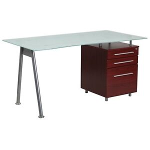 Glass Computer Desk With Mahogany Three Drawer Pedestal