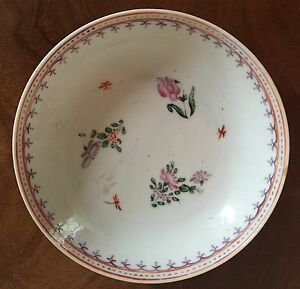 Antique 18th C Chinese Export Porcelain Plate Saucer Bowl Famille Rose Dish