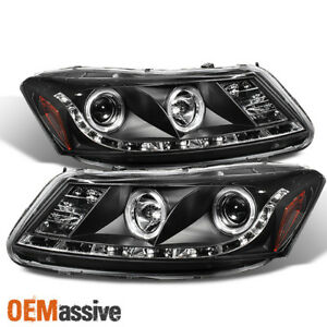 Fits 08 12 Honda Accord 4dr Black Dual Halo Projector Drl Led Strip Headlights