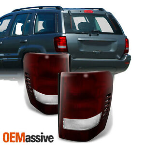 Fit 99 04 Jeep Grand Cherokee Dark Red Tail Lights L R Replacement
