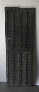 Pair Vtg House Window Wood Louvered Shutter Shabby Old Chic 12 X 70 1255 16