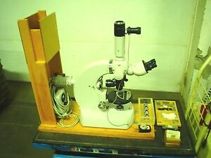 Carl Zeiss Photomicroscope Universal W o Camera Wood Case used 60 Day Warr