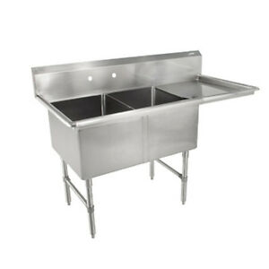John Boos 2b184 1d18r Two Compartment Sink W 18 Right Drainboard