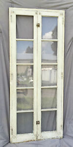 Antique Double 5 Lite Casement Window Sashes Complete Frame Old Shabby 1320 16