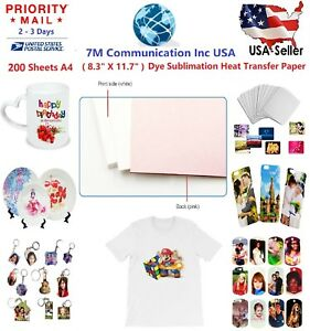 200 Sheets A4 Dye Sublimation Heat Transfer Paper For Polyester Cotton T Shirt