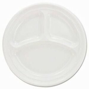 Dart Plastic Plates 9 Inches White 3 Compartments 500 Plates dcc9cpwf
