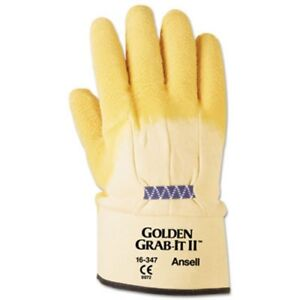 Ansell Grab It Heavy Duty Work Gloves Yellow Xl 12 Pairs ans1634710